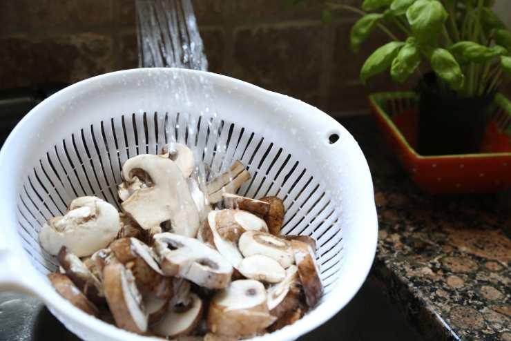 child rinsing mushrooms