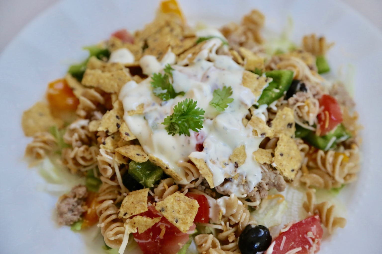 Crunchy Taco Salad with Pasta & Ranch Dressing