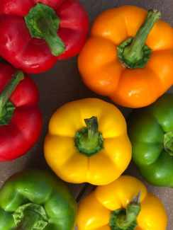 several bell peppers