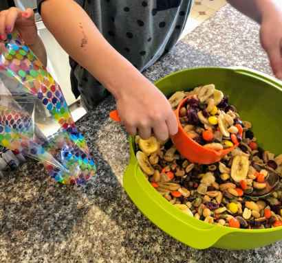 Scooping homemade trail mix