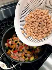 Adding beans to one pot fall pasta