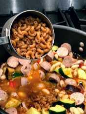Adding pasta to one pot fall pasta
