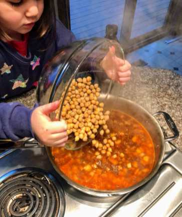 Kids Make Garlic Shrimp with Chickpea over Quinoa