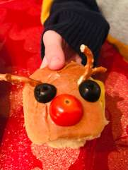 turkey reindeer slider in childs hand