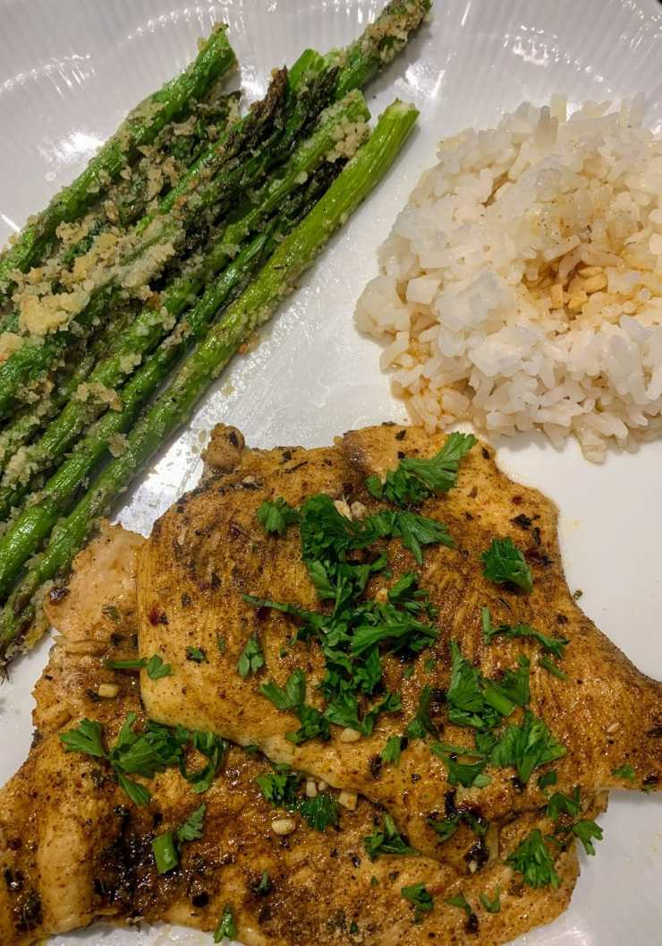 Lemon Chicken with Roasted Parmesan Asparagus