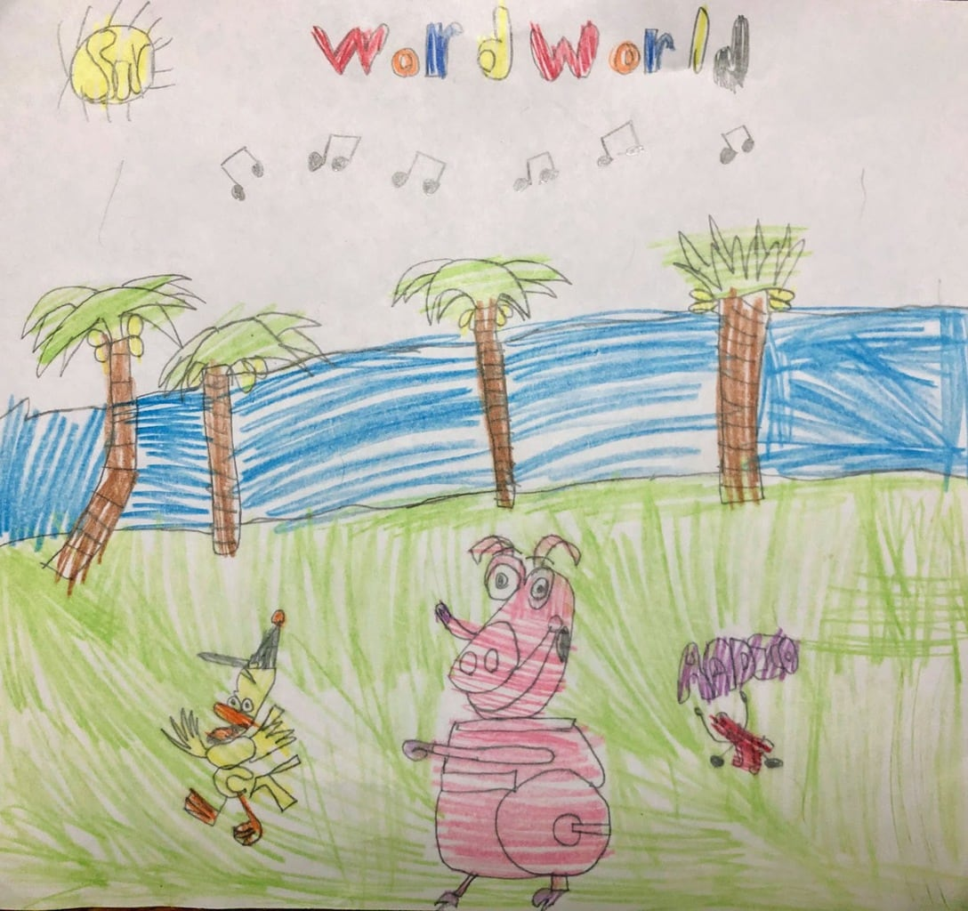 drawing of word world