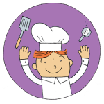 chef tossing spatula and measuring cup into air