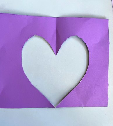 purple heart shaped cutout