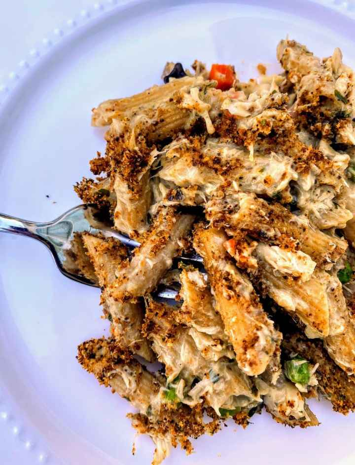 stovetop tuna casserole on white plate with fork