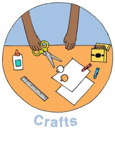 """illustration called """"Crafts"""" with child's hands holding scissors, over table filled with craft supplies"""