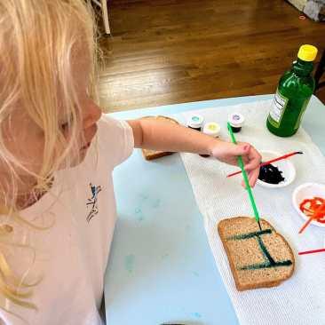 child painting toast