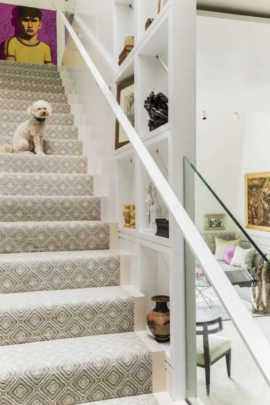 Platemark Interior Design Commonwealth Avenue Stairs with Dog