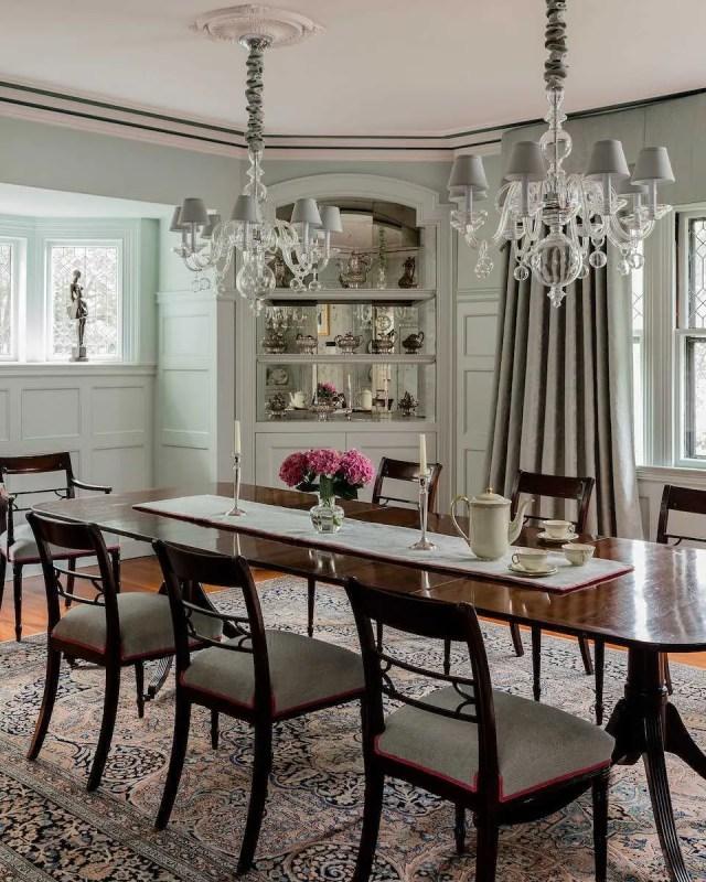 Platemark Interior Design Brookline Walnut Dining Room China Cabinet