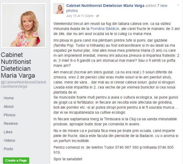 Nutritionist Maria Varga si Pomaria Bădăcin