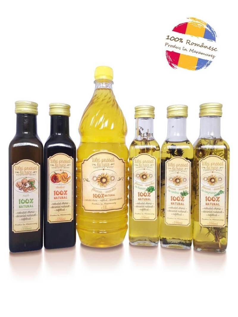 Ulei_de_Nuca_Dovleac_de_floarea_soarelui_cu_Busuioc_Cimbru_Rozmarin, ulei presat la rece Somcuta