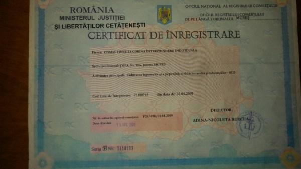 certificatul de inregistrare al Fermei Ecologice Topa