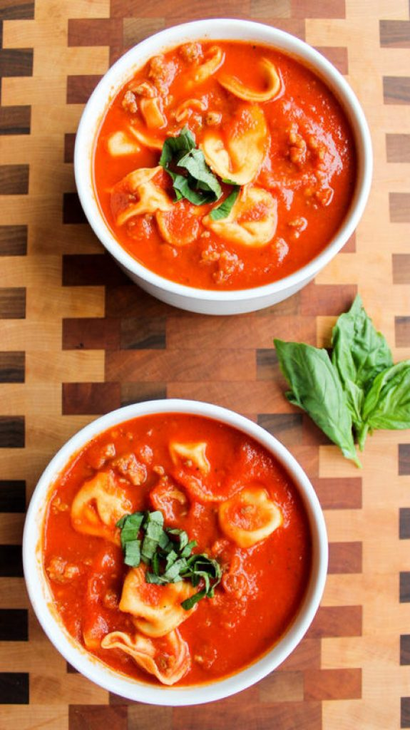 Quick Tomato Basil Soup with Tortellini and Sausage