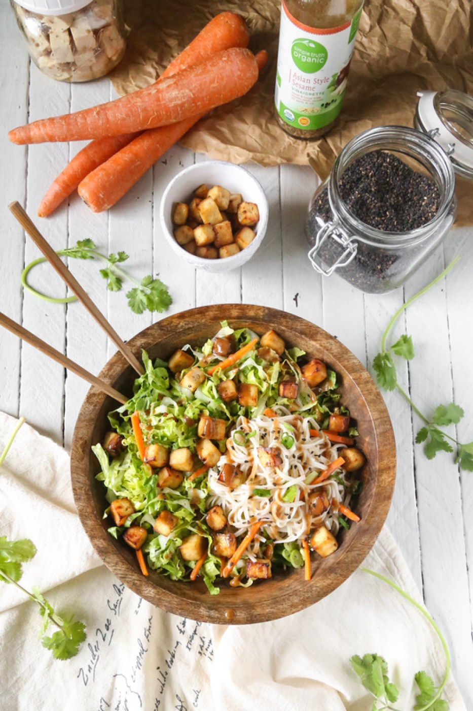 Asian Sesame Air-Fried Tofu Noodle Salad | Gluten-Free & Vegan | The Plant Philosophy