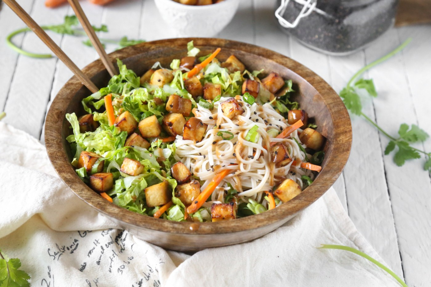 Asian Sesame Air-Fried Tofu Noodle Salad - The Plant ...