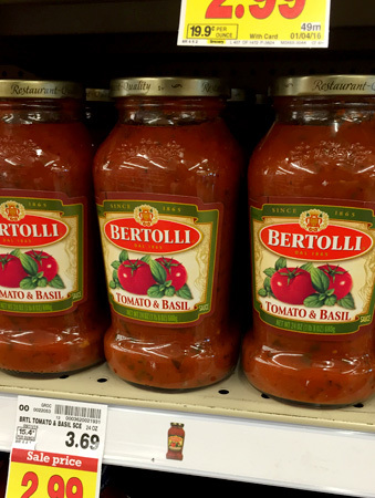 Bertolli Tomato and Basil Sauce - a perfect compliment for our Busy Night Tortellni Bake!