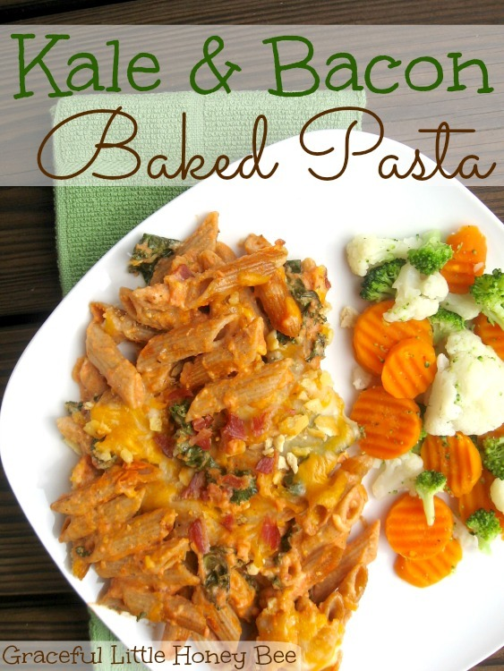 This Kale and Bacon Baked Pasta is full of delicious flavor! #choppedathome #ad #sponsored