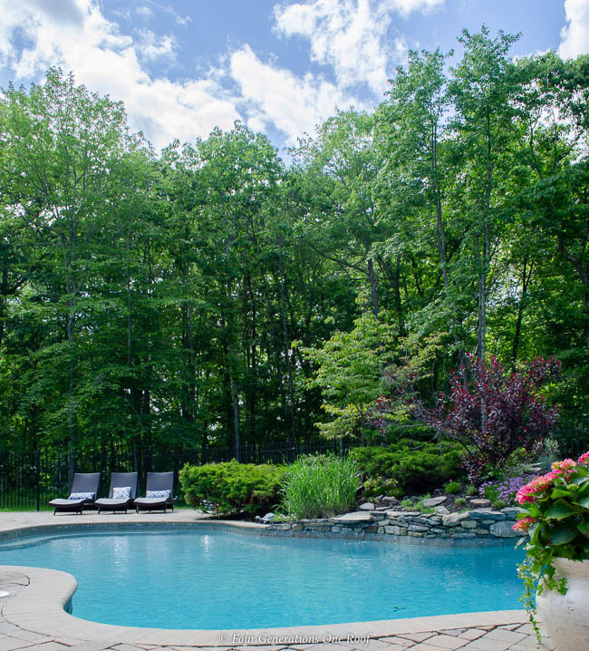 kidney design pool, rock wall flower bed, paver patio, potted pink hydrangeas