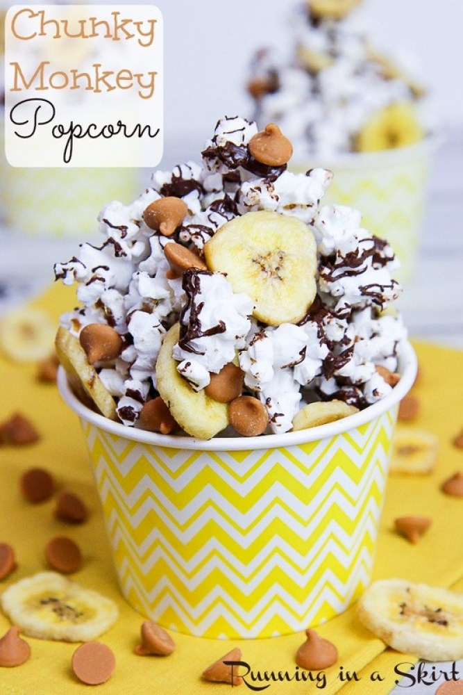 Chunky Monkey Popcorn Recipe | Running in a Skirt