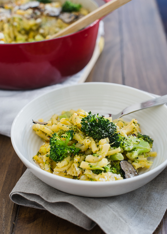 Truffled Mac and Cheese with Broccoli and Goat Cheese | www.kitchenconfidante.com | Tangy goat cheese adds oomph to a family favorite.