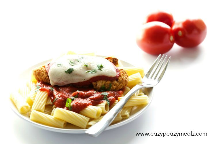 Chicken Parm made from chicken strips for a quick and easy meal