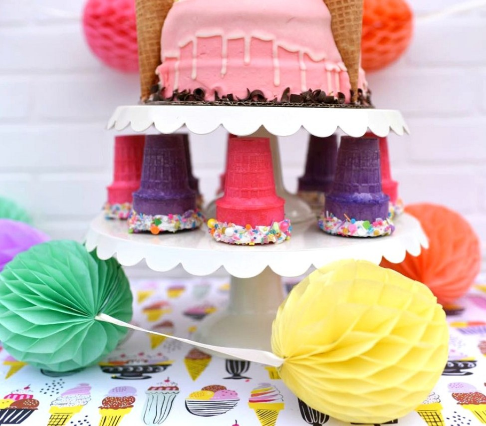 Ice cream party for girls with chocolate dipped ice cream cones