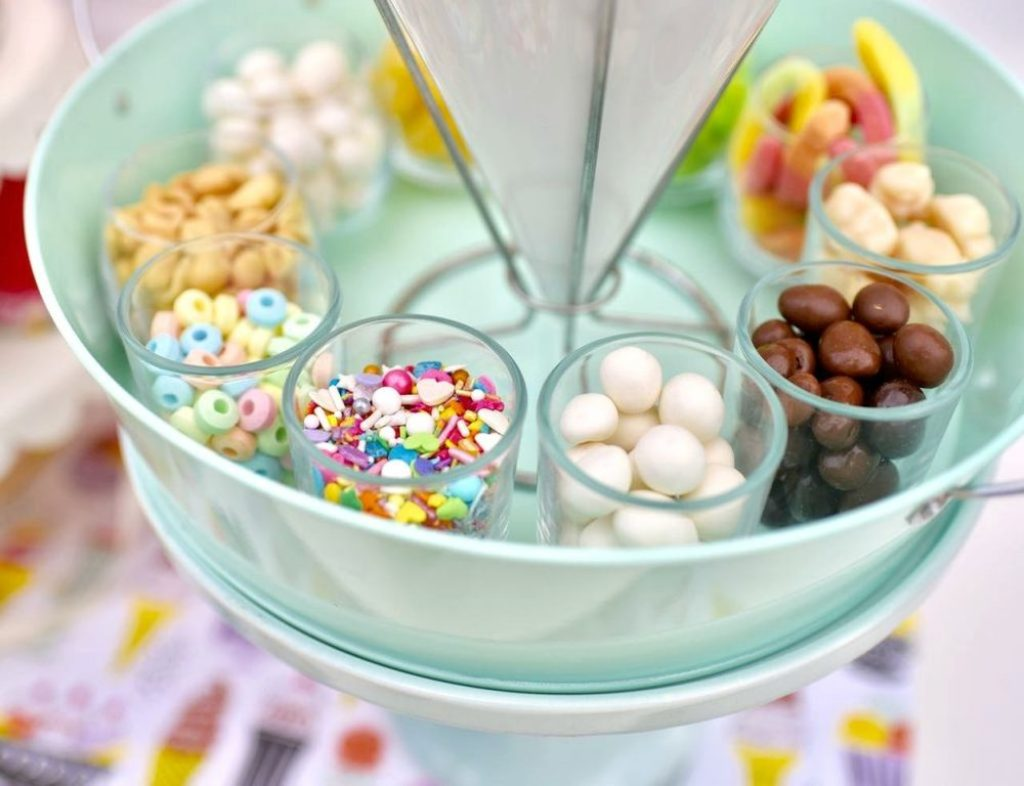 Ice cream party for girls with ice cream sundae toppings