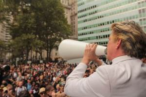 Rev Billy addresses the crowd at Occupy Wall Street, New York