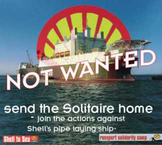 Shell has finally brought a section of the pipeline onshore using the pipe laying ship, the Solitaire