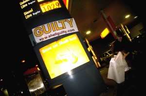 London activists label Shell Guilty before the Shell AGM, May 19th