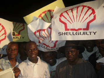 ogonis-jubilate-over-verdict-of-guilt-on-shell at a mock trial in Ogoniland