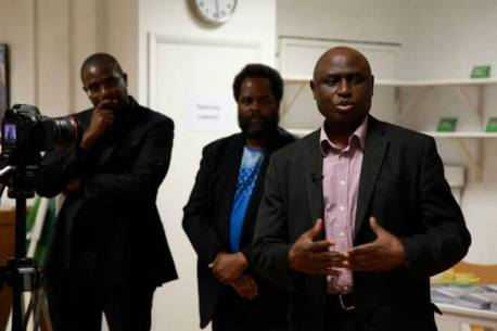 ASW launch - L to R - David Lammy MP, David A  Bailey - curator, Lazarus Tamana, MOSOP Europe