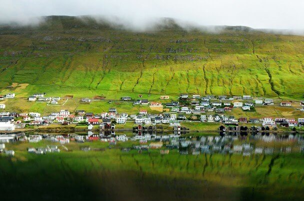 Mountain and township on the island of Suduroy in the Faroes