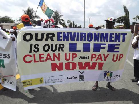 Ogoni protesting that the UNEP Plan has not been implemented
