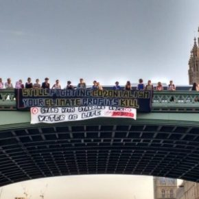 This is water defending itself – Protesting the Dakota Access Pipeline on Westminster Bridge