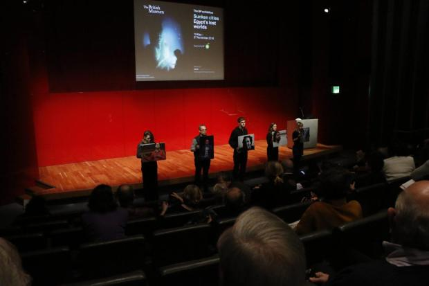 We took the stage for jailed Egyptian activists at British Museum's BP-branded big lecture