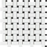 White Matte & Black Dot Basketweave