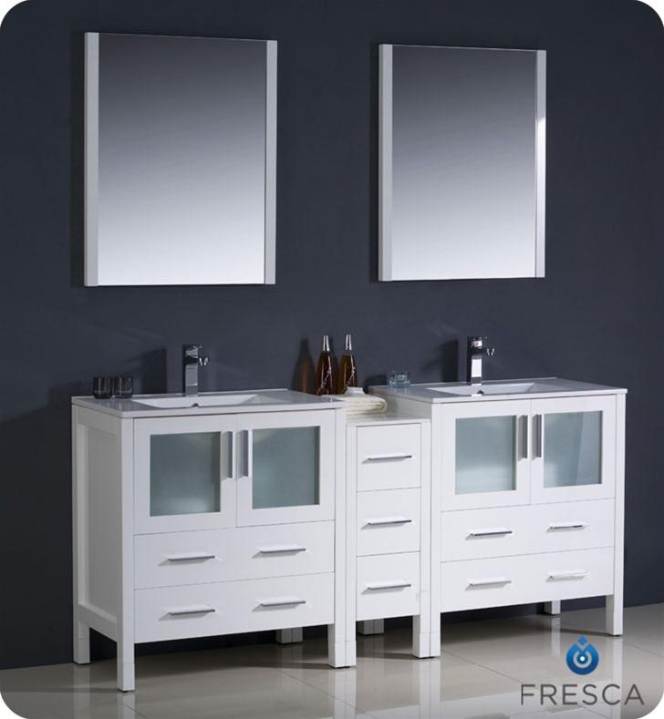 72 White Modern Double Sink Bathroom Vanity W Side Cabinet Integrated Sinks Platinum Bath