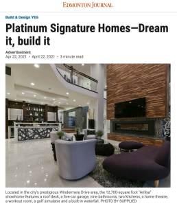 Platinum signature homes Edmonton Journaly April 2021