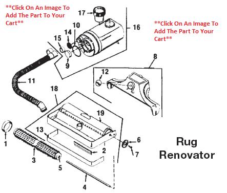 Kirby Heritage II Vacuum Cleaner Rug Renovator Parts