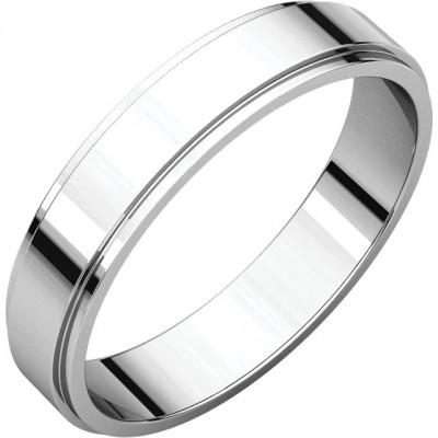 4mm Flat Edge Platinum Wedding Bands