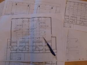 CAD-ritning över belysningsplan
