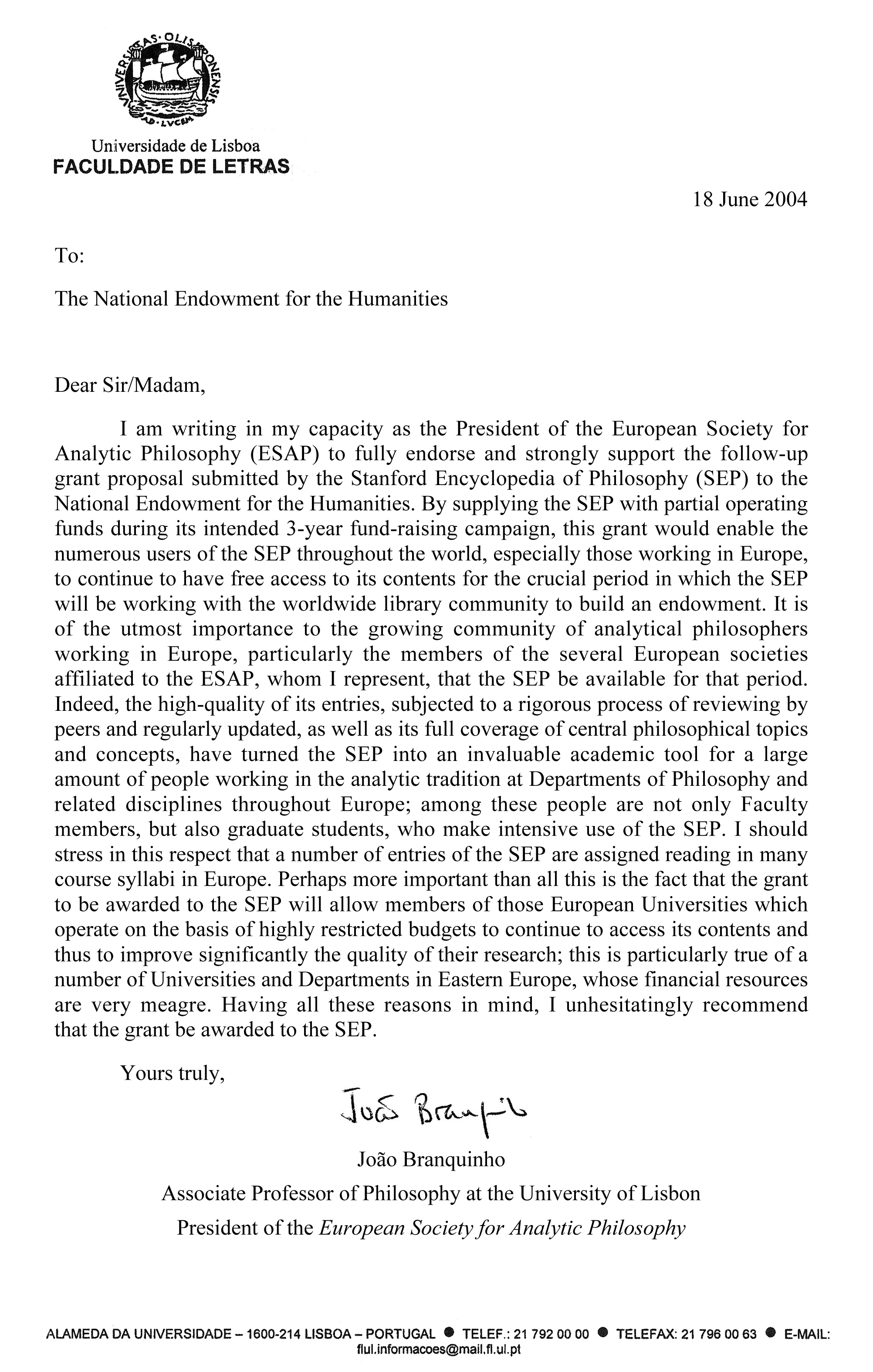 ESAP's Letter In Support Of NEH Grant