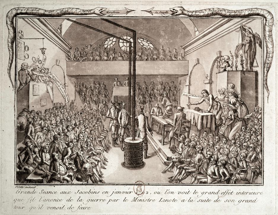 Meeting of the Jacobin club in January 1792.