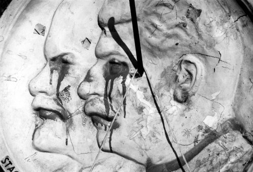Lithuania, Latvia and Estonia: Independence on Hold. Defaced Lenin and Stalin, Parliament Square, Vilnius 1991.
