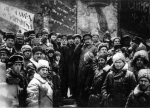 Lenin and Trotsky with other Bolsheviks in Red Square on the 2nd Anniversary of the October Revolution
